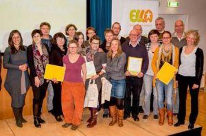 alle Preisträgerinnen der ZukunftsElla zusammen mit Vizebürgermeisterin Maria Vassilakou.