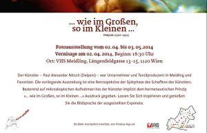 Fotoausstellung vom 2.4. bis 3.5.2014 Vernissage am 2.4.2014, Beginn: 18.30 Uhr Ort: VHS-Meidling, Längenfeldgasse 13-15, 1120 Wien