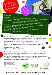 2015 - Mitbringfest in der Gierstergasse, 18.9.2015